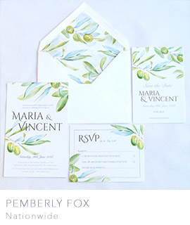uk wedding invitations by Pemberly Fox