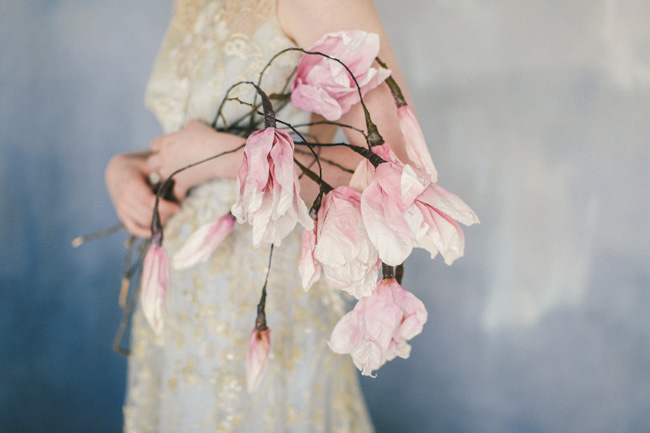 Paper magnolias, calligraphy and dusky blue ethereal beauty - bridal inspo by Jess Petrie Photography (2)