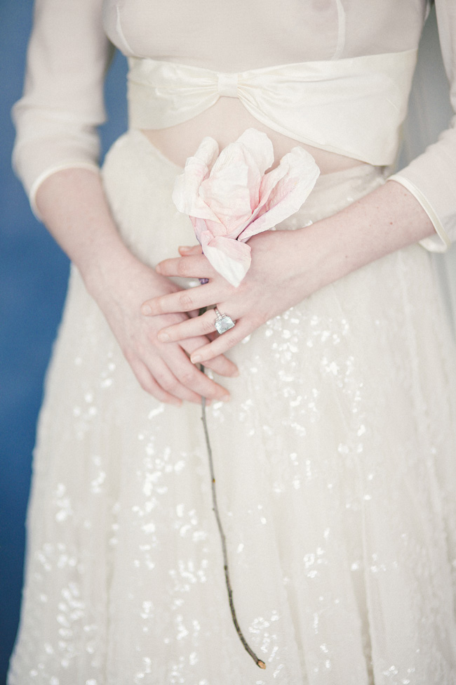 Paper magnolias, calligraphy and dusky blue ethereal beauty - bridal inspo by Jess Petrie Photography (5)