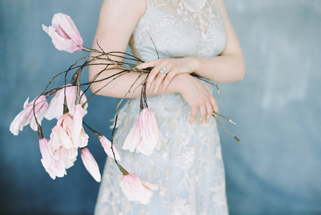 Paper magnolias, calligraphy and dusky blue ethereal beauty - bridal inspo by Jess Petrie Photography (26)