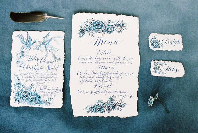 Paper magnolias, calligraphy and dusky blue ethereal beauty - bridal inspo by Jess Petrie Photography (31)