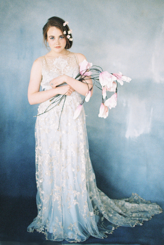Paper magnolias, calligraphy and dusky blue ethereal beauty - bridal inspo by Jess Petrie Photography (38)