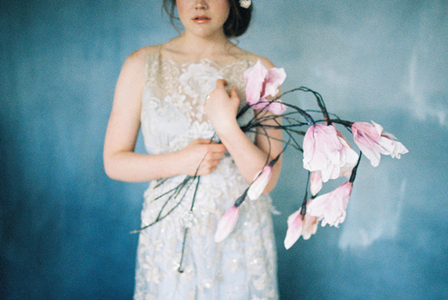 Paper magnolias, calligraphy and dusky blue ethereal beauty - bridal inspo by Jess Petrie Photography (39)