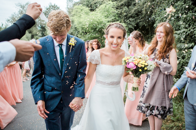 Bright and bold daisy wedding bouquet with tons of colour and afternoon tea - Sophie Evans Photography (7)