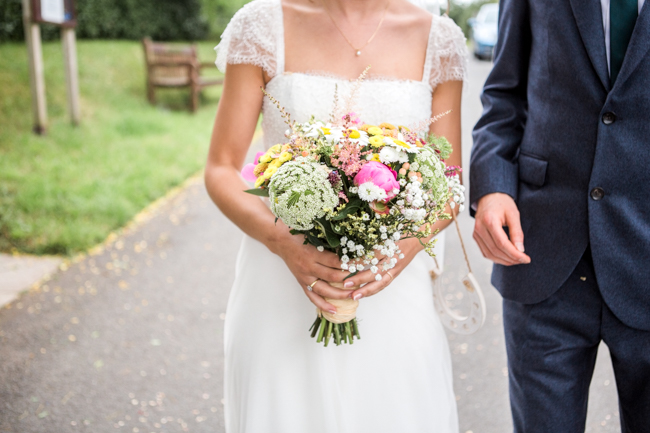 Bright and bold daisy wedding bouquet with tons of colour and afternoon tea - Sophie Evans Photography (8)