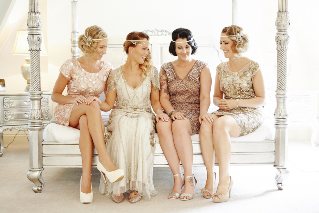 Gold, sparkly vintage glamour wedding at Woodhall Manor - Rose Images (7)