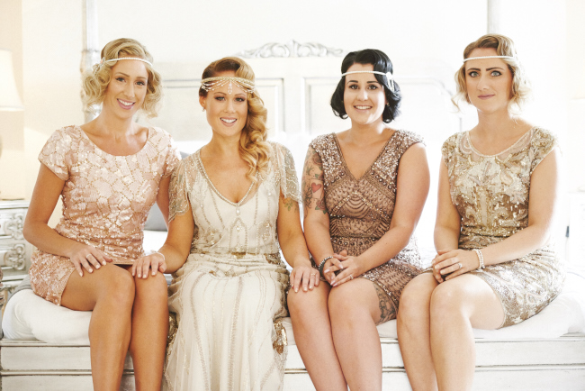 Gold, sparkly vintage glamour wedding at Woodhall Manor - Rose Images (8)