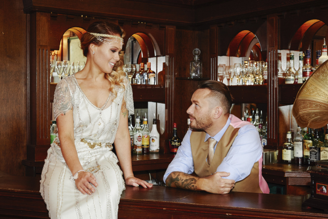 Gold, sparkly vintage glamour wedding at Woodhall Manor - Rose Images (23)