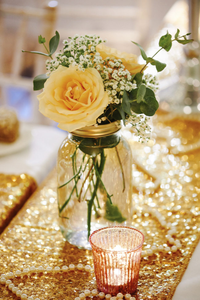 Gold, sparkly vintage glamour wedding at Woodhall Manor - Rose Images (26)