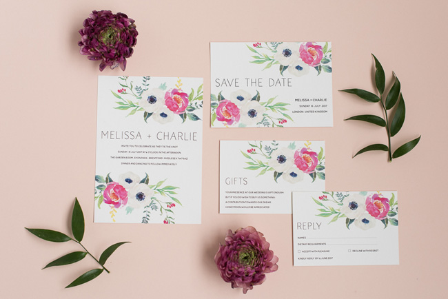 Chic and pretty wedding invitations by Polka Dot Paper on the English Wedding Blog (8)