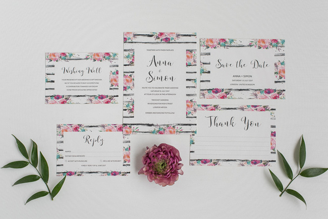 Chic and pretty wedding invitations by Polka Dot Paper on the English Wedding Blog (6)