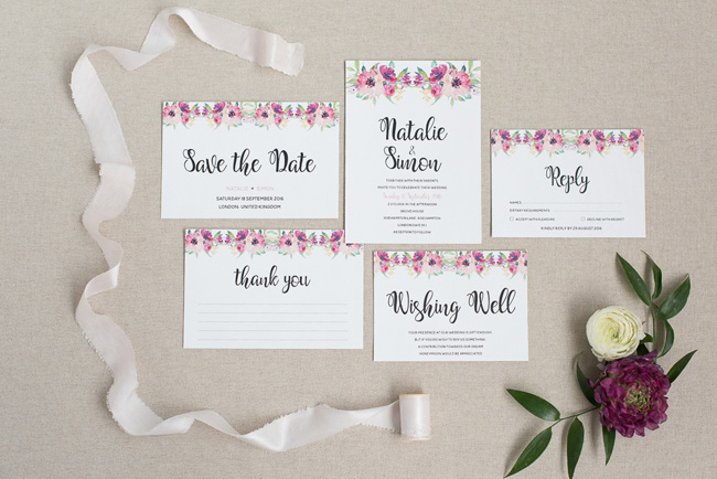 Chic and pretty wedding invitations by Polka Dot Paper on the English Wedding Blog (4)