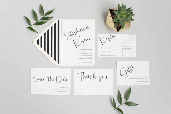Chic and pretty wedding invitations by Polka Dot Paper on the English Wedding Blog (3)