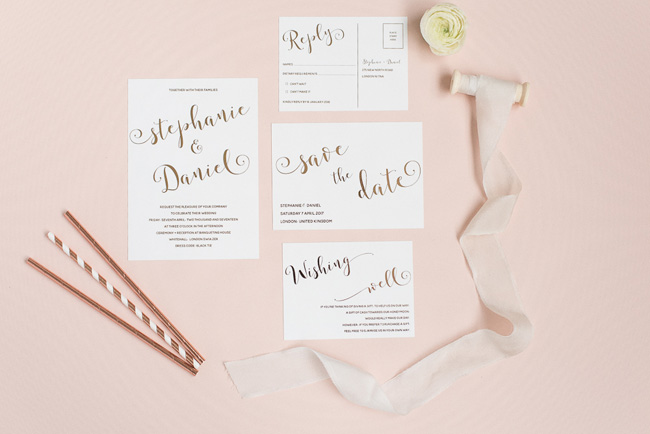 Chic and pretty wedding invitations by Polka Dot Paper on the English Wedding Blog (2)