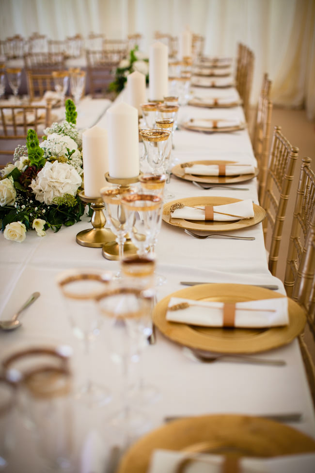 Gold styling accents and a fabulously tumbling green bouquet - Charlotte Giddings Photography (1)