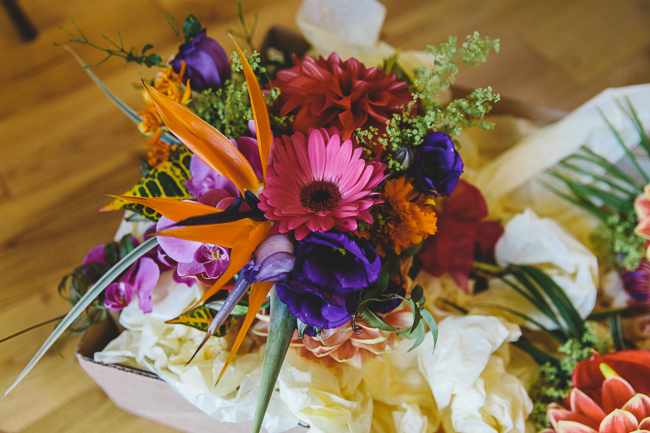Fabulous florals, bright coloured everything for an amazing wedding at Pennard House. Image credit Mark Leonard Photography (2)