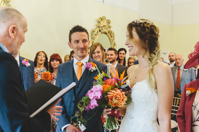 Fabulous florals, bright coloured everything for an amazing wedding at Pennard House. Image credit Mark Leonard Photography (7)