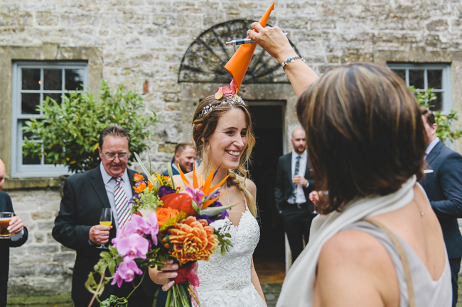 Fabulous florals, bright coloured everything for an amazing wedding at Pennard House. Image credit Mark Leonard Photography (12)