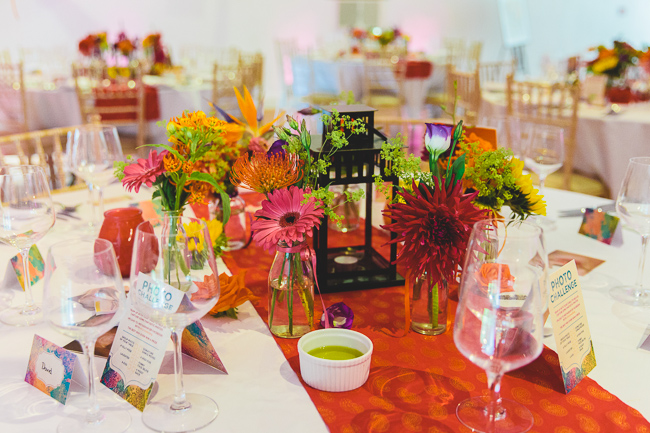 Fabulous florals, bright coloured everything for an amazing wedding at Pennard House. Image credit Mark Leonard Photography (13)