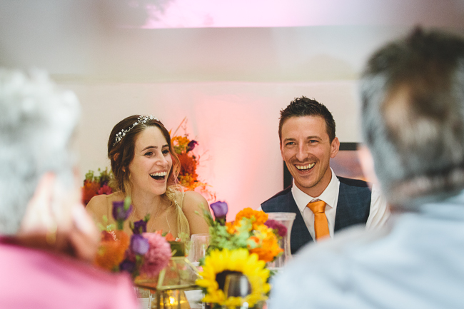 Fabulous florals, bright coloured everything for an amazing wedding at Pennard House. Image credit Mark Leonard Photography (36)