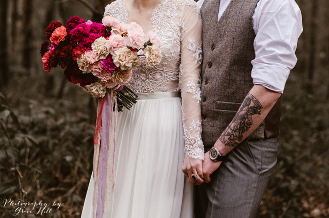Dark, opulent florals and woodland wedding styling on the English Wedding Blog. Image credit Grace Hill Photography (7)