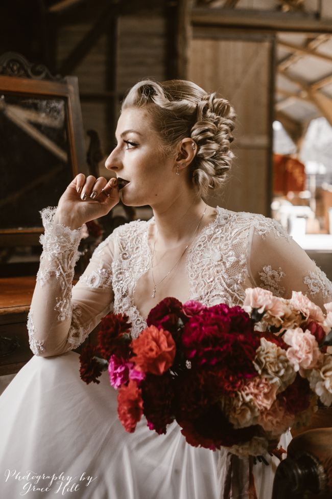 Dark, opulent florals and woodland wedding styling on the English Wedding Blog. Image credit Grace Hill Photography (14)