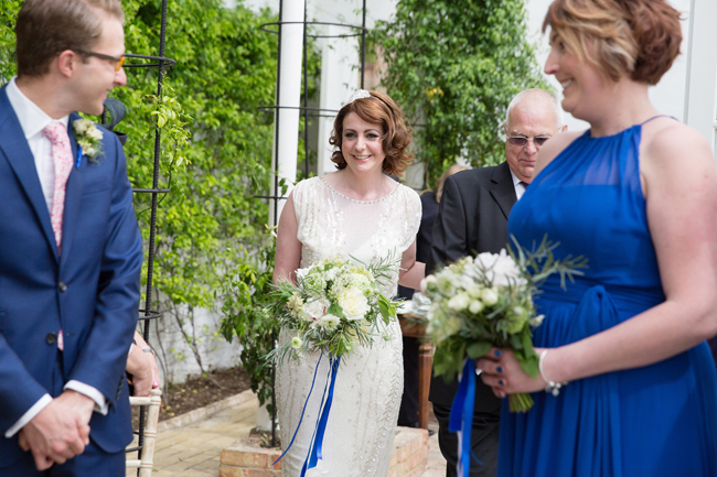 Jenny Packham and ivory roses for a pretty spring wedding at St Clere Estate, image credit Helen England Photography (5)
