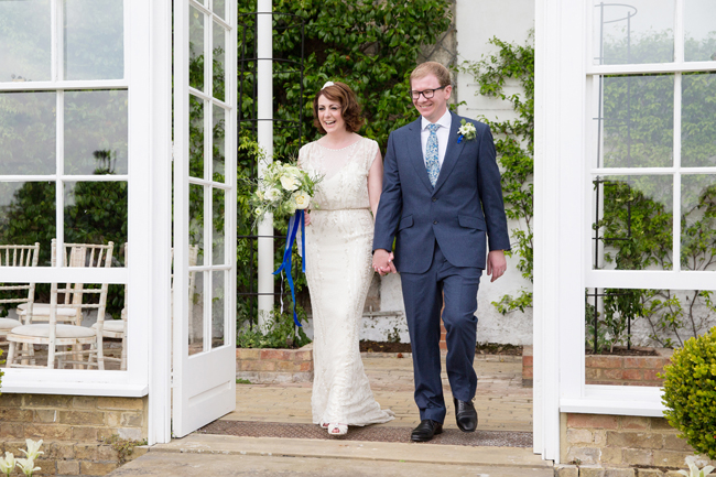 Jenny Packham and ivory roses for a pretty spring wedding at St Clere Estate, image credit Helen England Photography (9)