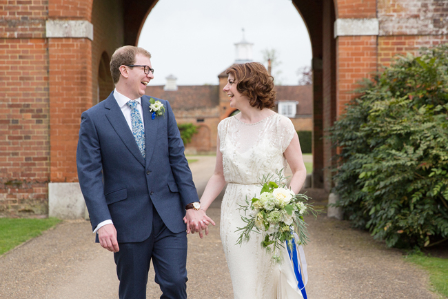 Jenny Packham and ivory roses for a pretty spring wedding at St Clere Estate, image credit Helen England Photography (13)