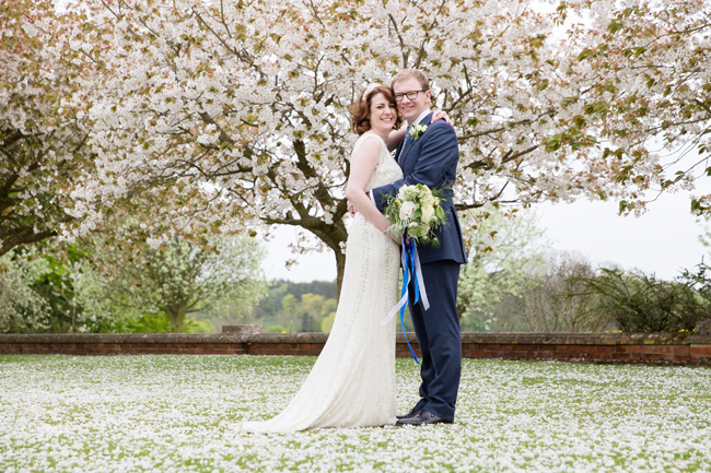 Jenny Packham and ivory roses for a pretty spring wedding at St Clere Estate, image credit Helen England Photography (18)