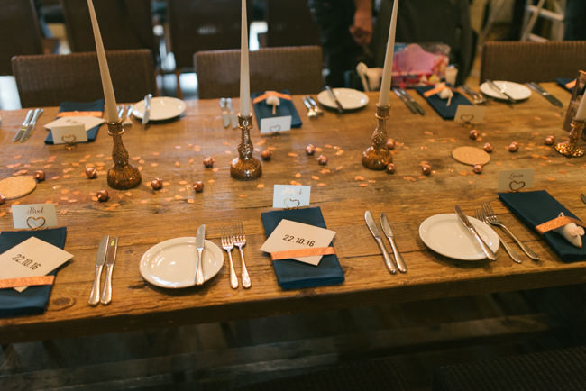 Navy and copper for a rustic restaurant wedding in Herefordshire with Che Birch-Hayes Photography (29)