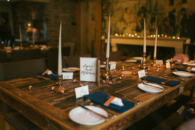 Navy and copper for a rustic restaurant wedding in Herefordshire with Che Birch-Hayes Photography (33)