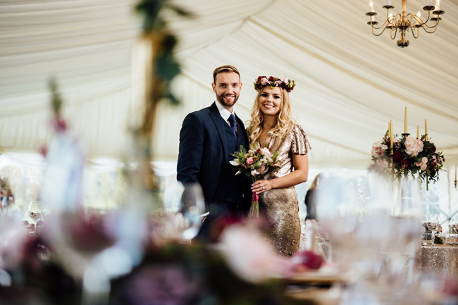 Humpston and Bull Photography at Hardwick Hall - beautiful marquee styling with florals and a touch of sparkle (24)