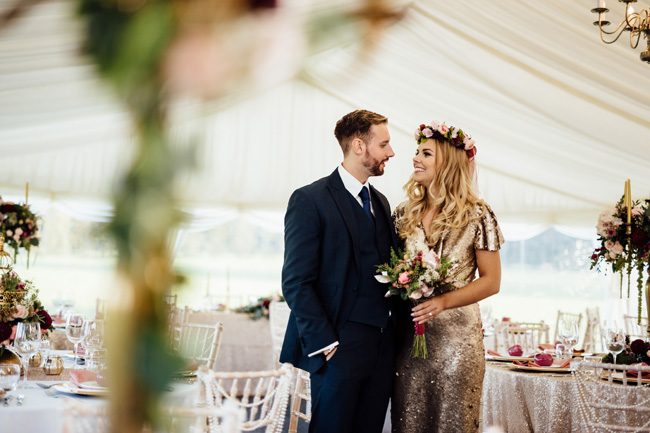 Humpston and Bull Photography at Hardwick Hall - beautiful marquee styling with florals and a touch of sparkle (25)