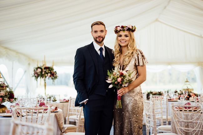 Humpston and Bull Photography at Hardwick Hall - beautiful marquee styling with florals and a touch of sparkle (27)