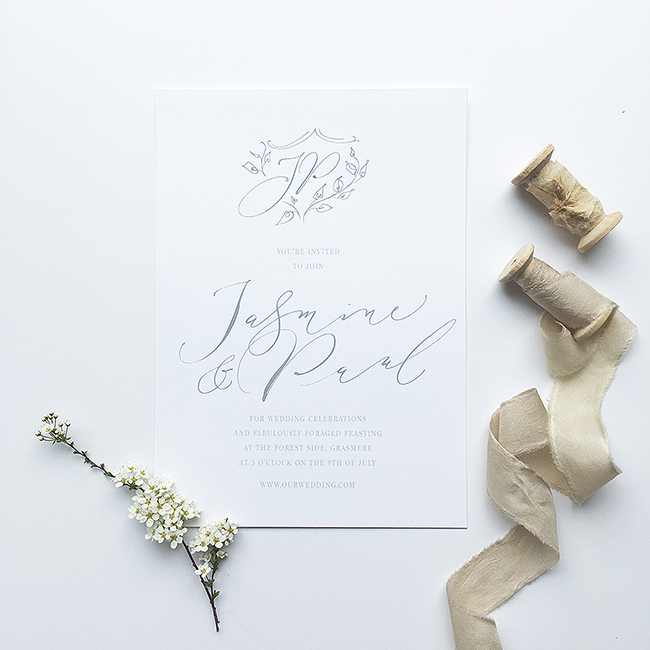 elegant calligraphy wedding invitations from the UK in the English Wedding Shop (6)