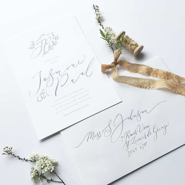 elegant calligraphy wedding invitations from the UK in the English Wedding Shop (2)