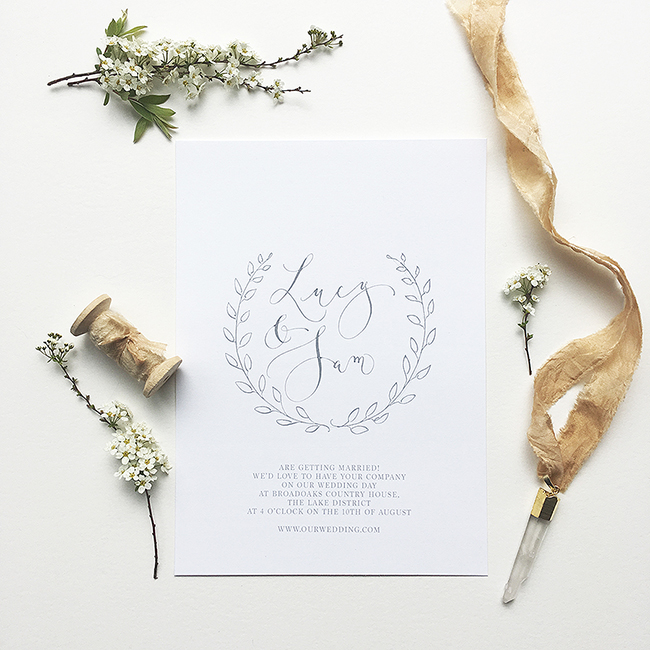 elegant calligraphy wedding invitations from the UK in the English Wedding Shop (5)