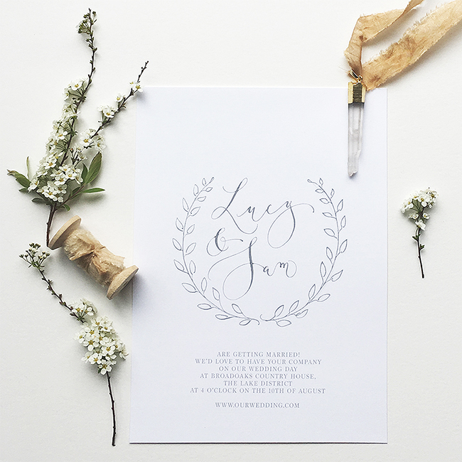 elegant calligraphy wedding invitations from the UK in the English Wedding Shop (3)