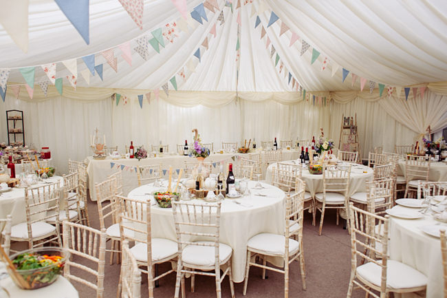 Bunting and vintage china for a garden party summer wedding, with Delicious Photography in Lancashire (16)