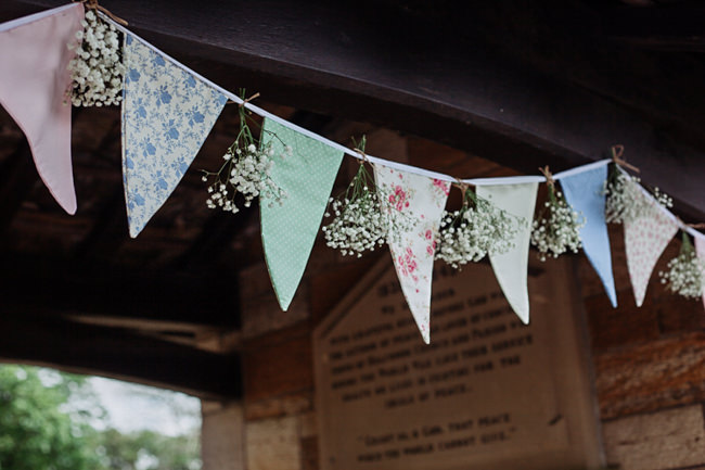Bunting and vintage china for a garden party summer wedding, with Delicious Photography in Lancashire (3)