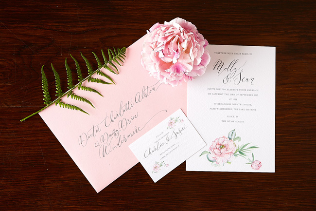 summer pink peony illustrated wedding invitations, watercolour invites, amy swann stationery, calligraphy invitations (5)