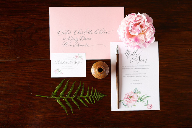 summer pink peony illustrated wedding invitations, watercolour invites, amy swann stationery, calligraphy invitations (3)