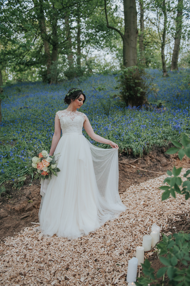 Bluebells and elegant Derbyshire wedding styling ideas and suppliers, image credit Rosie Kelly Photography (14)