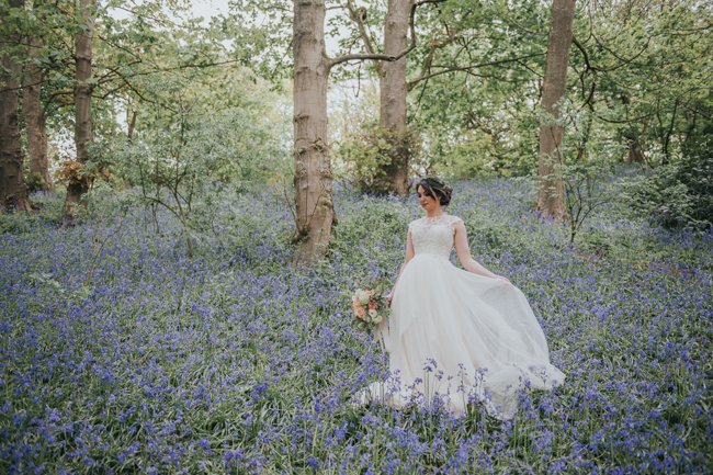 Bluebells and elegant Derbyshire wedding styling ideas and suppliers, image credit Rosie Kelly Photography (18)