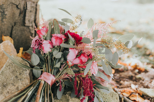 Bold florals, textures and accents from nature - autumn wedding styling ideas with Oobaloos Photography (2)