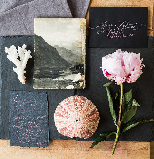 Calligraphy wedding invitations from UK Calligrapher By Moon and Tide (7)