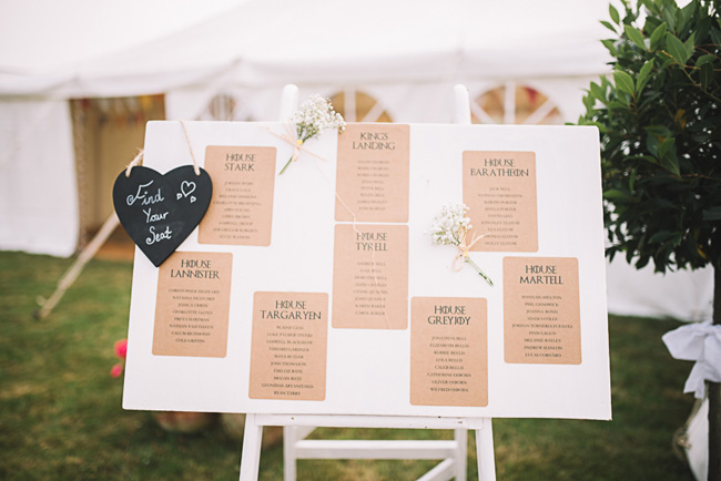 Pretty signage and a subtle Game of Thrones theme for Rosie and Allan's Canterbury wedding. Lucie Watson Photography (4)