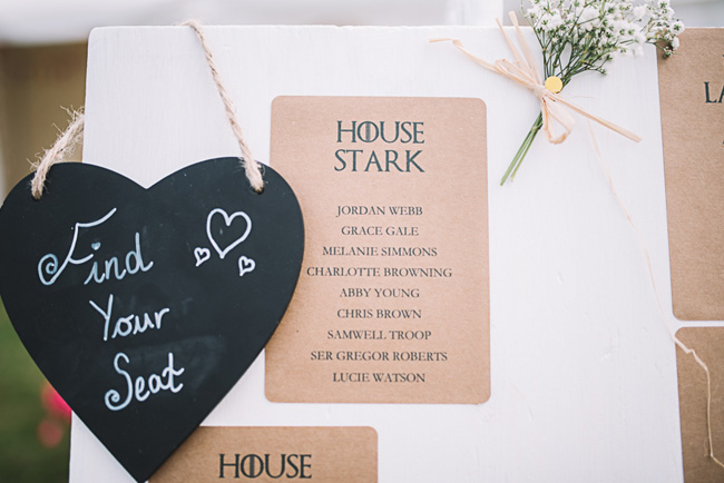 Pretty signage and a subtle Game of Thrones theme for Rosie and Allan's Canterbury wedding. Lucie Watson Photography (5)