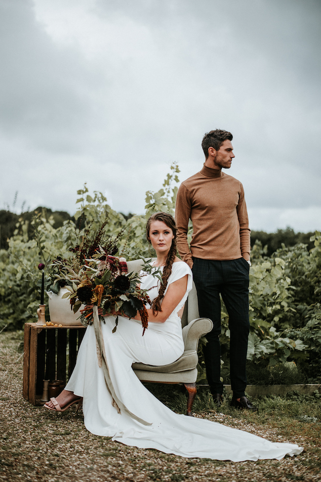 Organic and elegant autumnal wedding styling at River Cottage. Image credit Katy Jones Photography (20)